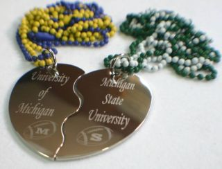 Custom Split Heart Football Pendant Necklace Pair Set
