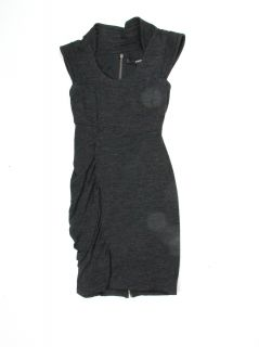 Cut 25 YIGAL Azroue Womens Charcoal Round Neck Side Ruched Dress 6 $