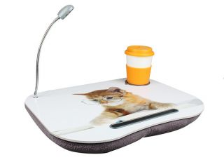 New Portable Cute Cat Laptop Lap Desk w LED Light Drink Holder Foam