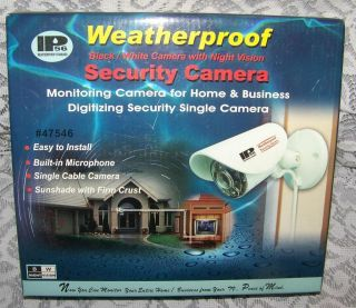IP56 WEATHERPROOF SECURITY CAMERA Black White w NIGHT VISION NIB