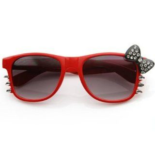 Hello Kitty Wayfarer Retro Nerd Glasses Red Frame Bow with Bling