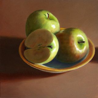 DANFORTH Green Apples Bowl still life 6x6 oil painting. More in my