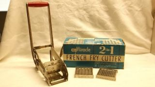 VTG EKCO MIRACLE FRENCH FRY CUTTER & 2 BLADES IN BOX~STAINLESS KITCHEN