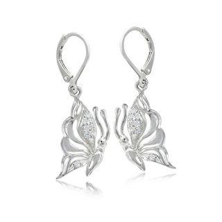 White CZ 925 Sterling Silver Butterfly Dangle Leverback Earrings nbbb