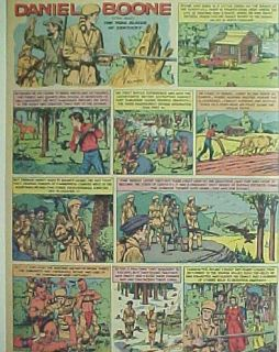 1959 Daniel Boone Cartoon Comic Strip Animation Art