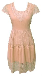 Shell Pink Cotton Lace High Tea Day Dress Size 14 New