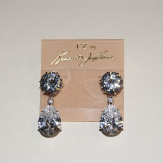 CZ by Kenneth Jay Lane CZ Tear Drop Gorgeous Pierced Earrings KE061