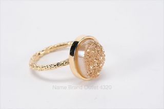 DARA ETTINGER 6 gold tone oval NADIA DRUZY stackable ring PREOWNED 150