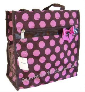 Large Polka Dot Brown Pink Shopping Tote Bag Handbag