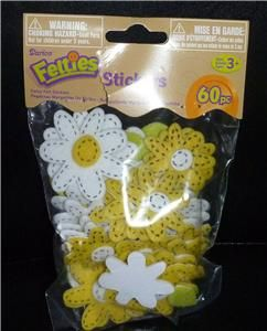 NIP Girl Flowers Daisy Felt Daisies Craft Project Scout Swaps Yellow