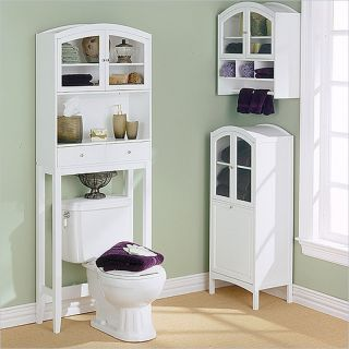 Southern Enterprises White Arch Top Wall Bathroom Cabinet