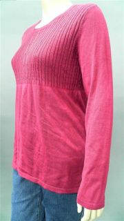 Daisy Fuentes Ladies Womens Stretch Cable Knit Sweater Sz XL Pink Sale