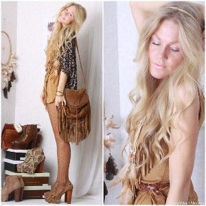 MNG Tan Suede Fringed x Body Hand Bag Boho Hippie Fringing Vtg 70s