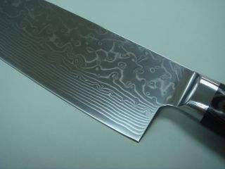 handmade 7 damascus nakiri knife with wave pattern