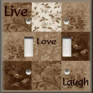 Light Switch Plate Cover Inspirational Sayings Live Love Laugh Brown