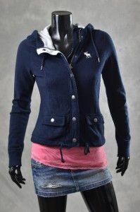 Abercrombie Fitch Womens Jackets Navy Fleece Hoodie Jacket Coat Sz S