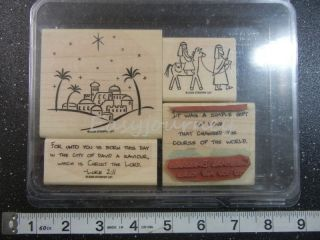 STAMPIN UP CITY OF DAVID CHRISTMAS 4 PC Rubber Stamp Set #C67