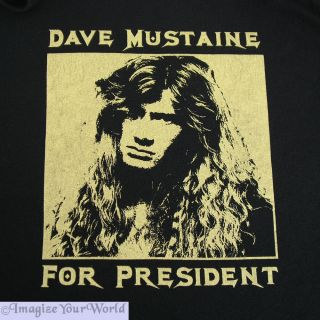 Mens Black T Shirt Dave Mustaine for President s s Megadeth Fan Humor