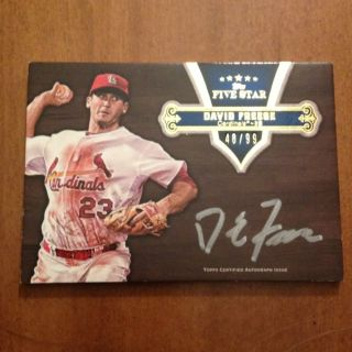 DAVID FREESE ST. LOUIS CARDINALS 2012 TOPPS FIVE STAR BASEBALL (AUTO
