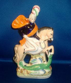 Antique 19th century English Staffordshire Pottery Figure of Soldier