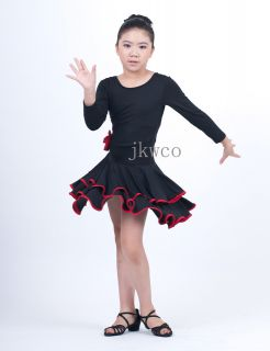 Kid Girl Latin Dance Dress Jive Rumba Child Ballroom Flouncing Dance