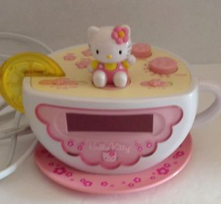 Hello Kitty Digital Am FM Tea Cup Alarm Clock Radio with Night Light