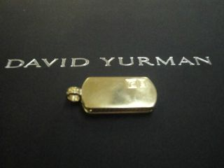 David Yurman Men 18K Yellow Gold Dog Tag Charm Pendant