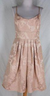 Davids Bridal Short Floral Jacquard Full Skirt Dress 6 s Champagne