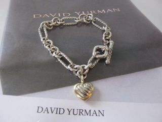 David Yurman Heart Charm Bracelet Sterling Silver 18K Y G