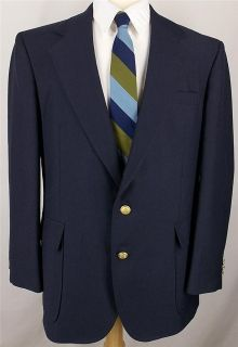 42 R David Taylor SOLID NAVY BLUE GOLD WOOL sport coat jacket suit