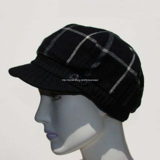 David Young Womens Ladies Hat Cap Newsboy Cabbie Black Plaid