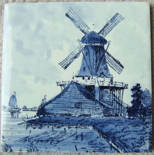 Vintage Windmill Sailboat Seaside Ceramic Tile Delft Blue Tile