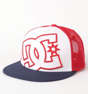 DC SHOES White Navy Red DAXX TRUCKER HAT CAP MEN ADULT SNAPBACK Skate