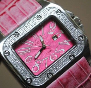 Ladies Luxess 1013SD Diamond Pink Leather Watch Daxx