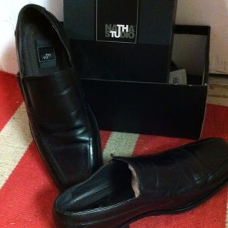 Mens Black Leather Shoes Slip ons 12M