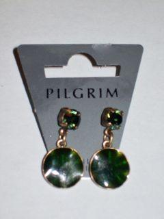 NWT Pilgrim Danish Design Green Enamel Rhinestone Disc Dangle Earrings