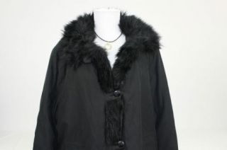 Dennis Basso Black Faux Fur Trim Button Front Coat L I190