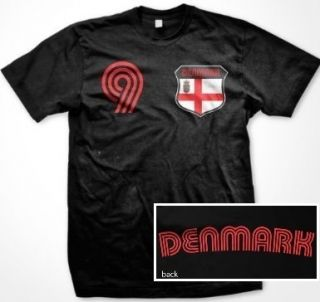 Denmark Flag Retro Shield T Shirt Jersey Danish Soccer