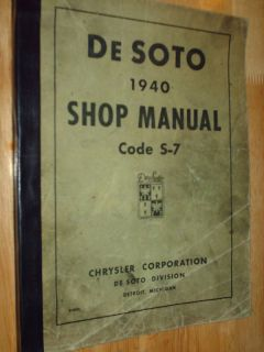 1940 De SOTO SHOP MANUAL / SERVICE MANUAL / ORIGINAL MOPAR DeSOTO SHOP