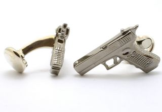 Deakin Francis Sterling Silver 9mm Pistol Gun Cufflinks Great Detail