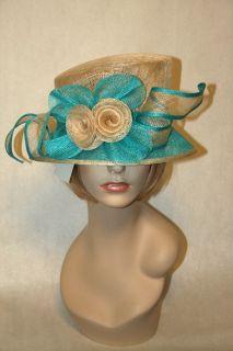 Kentucky Derby Sinamay Turquoise Blue Tan Bucket Dress Hat Ascot