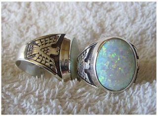 sterling silver Navajo mens large white fire opal ring size 11, 12, or