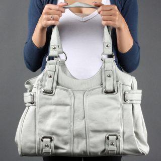 Light Gray Faux Leather Women Designer Inspired PEBBLED Shoulder Purse