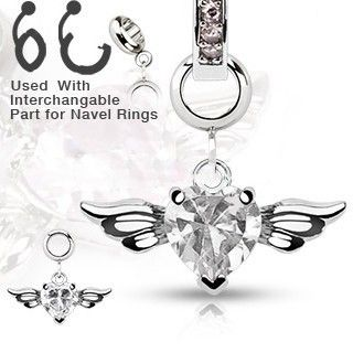 Steel Navel Belly Button Dermal Ring Jewelry Charm Clear Heart