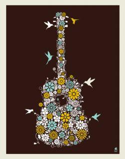 2012 Dave Matthews Band Variant Flower Guitar Poster