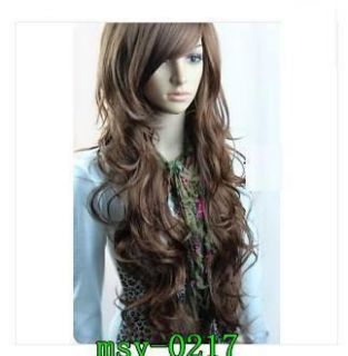 Attractive Long Brown Wavy Girl Hair Full Wig Role Play Synthetic Wigs