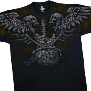 Death Metal Winged Skulls Guitr Liquid Blue Mens Tshirt