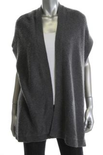 Designer Gray Ribbed Trim Short Sleeves Open Front Cardigan Sweater