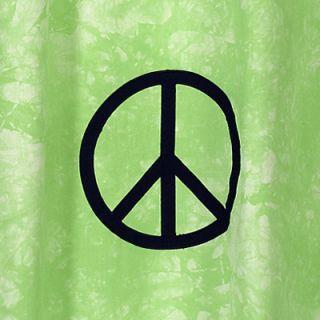 JoJo Green Peace Sign Kids Teen Fabric Shower Curtain