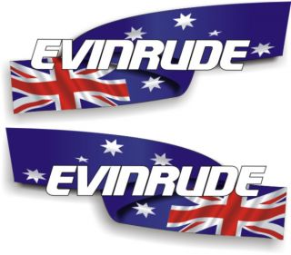 Aus Flag Evinrude Stickers Boat Decals Graphics 350mm x 150mm